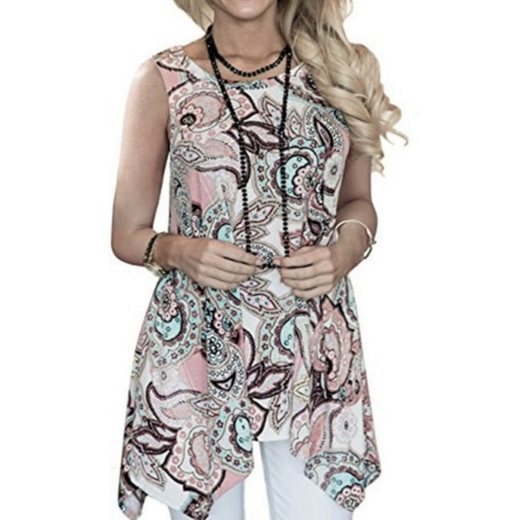 97768fae600 Paisley Sleeveless Blouse Sz L Sharkbite Women s. Boutique